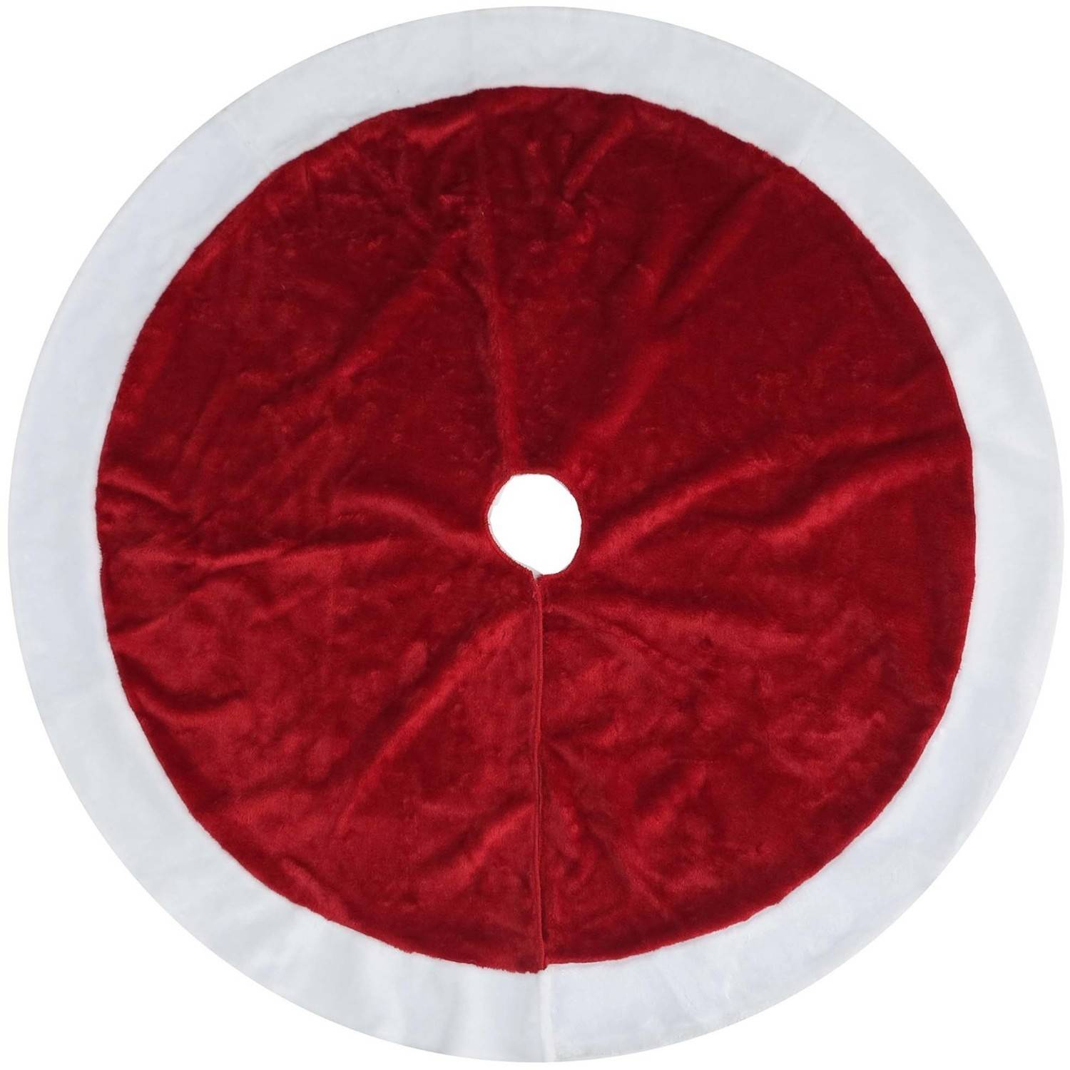 Holiday Time Red/White Plush Tree Skirt