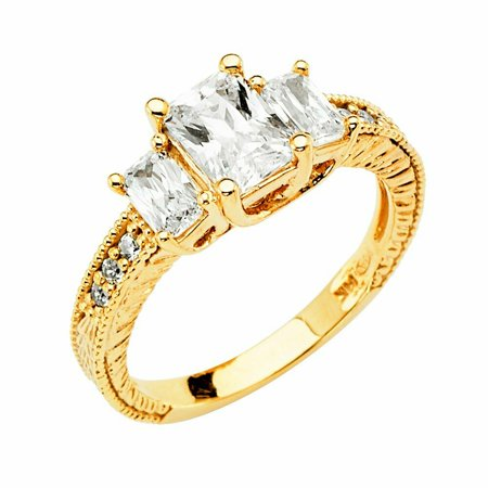 Solid 14k yellow Gold CZ Cubic Zirconia 3 Emerald Cut Wedding Engagement Ring With Prong Setting (2.50 ct.)