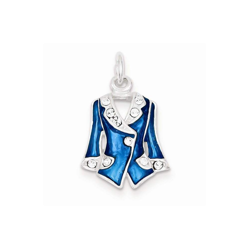 Sterling Silver Blue Enameled and Crystal Jacket Charm (0.8in long x 0.6in wide)