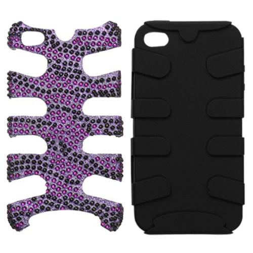 Insten Zebra Skin (Purple/Black) Diamante/Black Fishbone Case For iPhone 4 4S