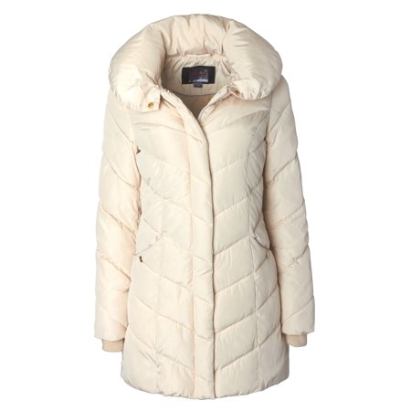 Sportoli Womens Winter Fleece Lined Chevron Quilted Puffer Jacket Coat with Hood - Ivory (Size Medium) ()