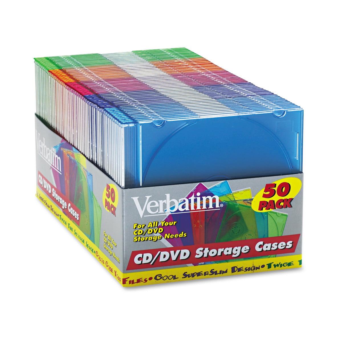 sc 1 st  Walmart & Verbatim 50 Pack CD/DVD Color Slim Jewel Cases Assorted - Walmart.com