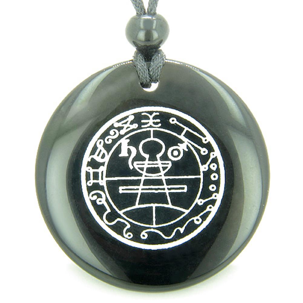 Secret Seal of Solomon Protection Powers Talisman Black Agate Magic Pendant Necklace