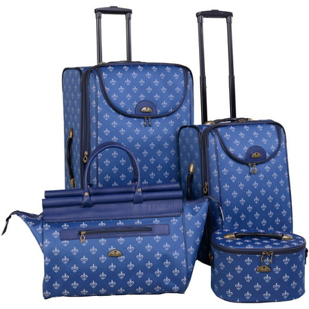 Long Lat Inc. AF 4P FleurDeLis LuggageSet Blue