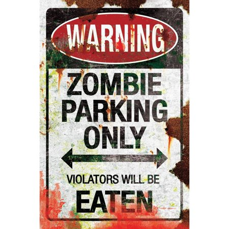Zombie Parking Metal Sign Halloween Decoration