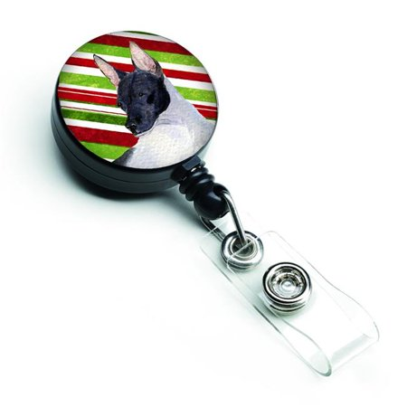 Rat Terrier Candy Cane Holiday Christmas Retractable Badge Reel - image 1 de 1