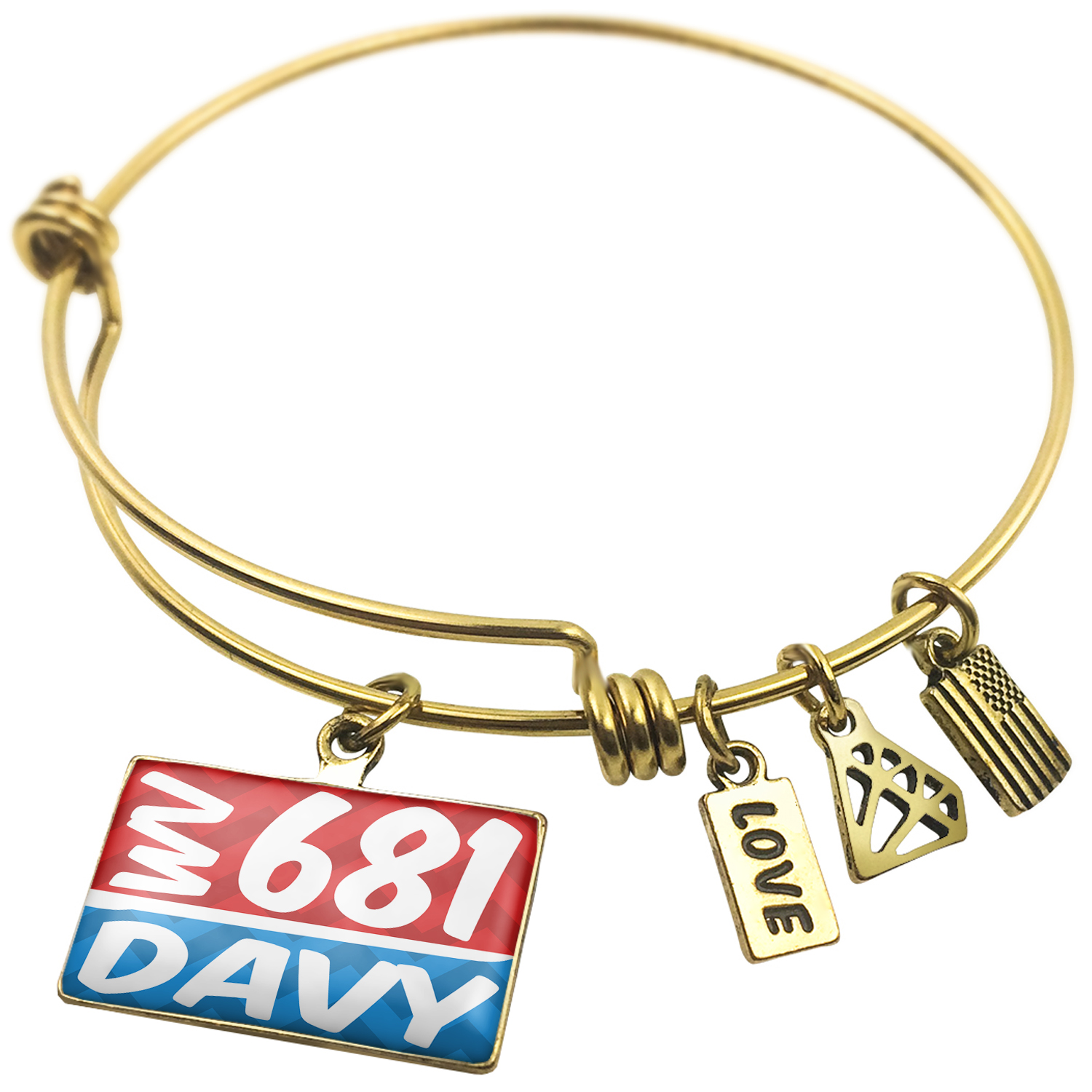 Expandable Wire Bangle Bracelet 681 Davy, WV red/blue - NEONBLOND