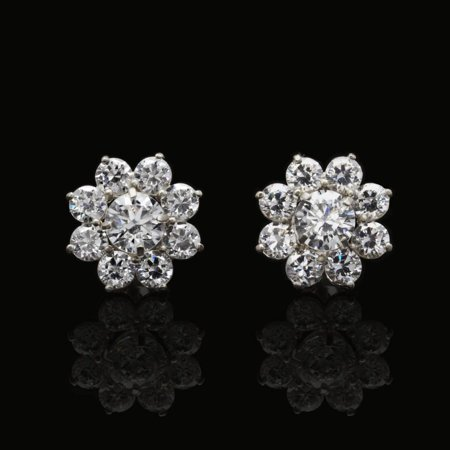 1.5Ct Created Round Diamonds 2 in 1 Flower Jacket Stud Earrings 14K White Gold ()