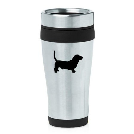 16oz Insulated Stainless Steel Travel Mug Basset Hound (Black),MIP Basset Hound Travel Mug