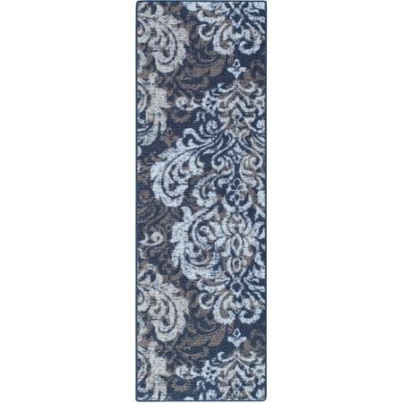 damask print nylon runner rug blue 1 39 11 x 6
