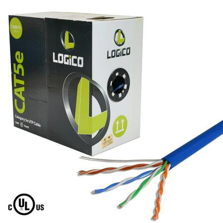 Cat5e UTP 1000ft Bulk Ethernet Network Cable 24AWG 350Mhz Plenum Blue ()