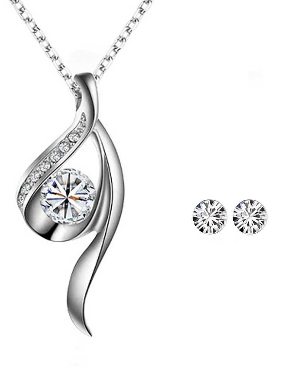 Wrapables® True Elegance Crystal Necklace and Stud Earrings Jewelry Set, Silver Tone White