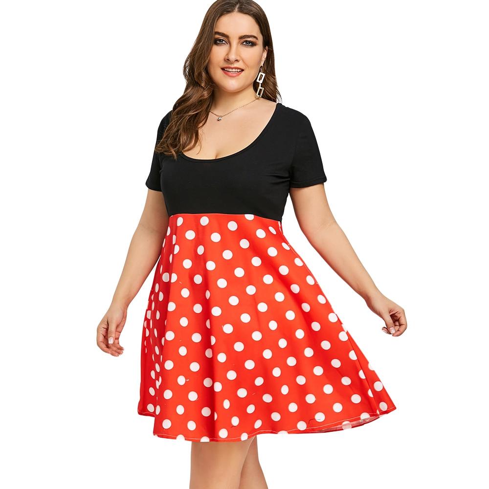 NEXTMIA - Casual Dresses Plus Size Polka Dot Print Retro Dress For Women  Plus Size - Walmart.com