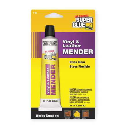 SUPER GLUE T-VL48 Clear Vinyl And Leather Adhesive, 1 fl. oz. Tube Clear Adhesive Vinyl