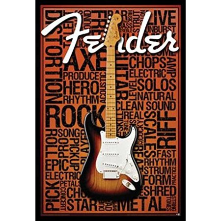 FRAMED Fender Words 36x24 Art Print Poster Wall Decor Guitar Rock and Roll Strum Star Amps Fire Metal string Tones Strut Live Hero Axe