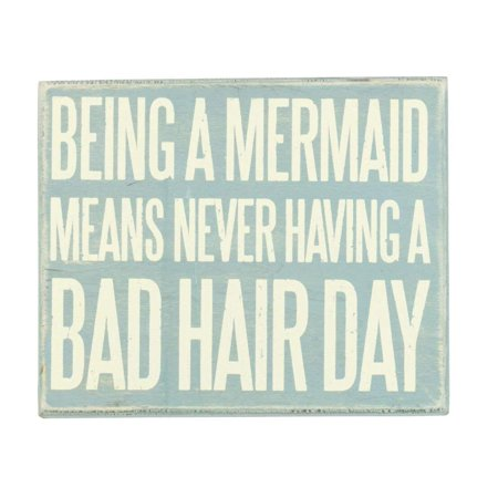 JennyGems Wooden Box Sign Being A Mermaid Means Never Having A Bad Hair Day - Beach House Decoration - Coastal Nautical Decor