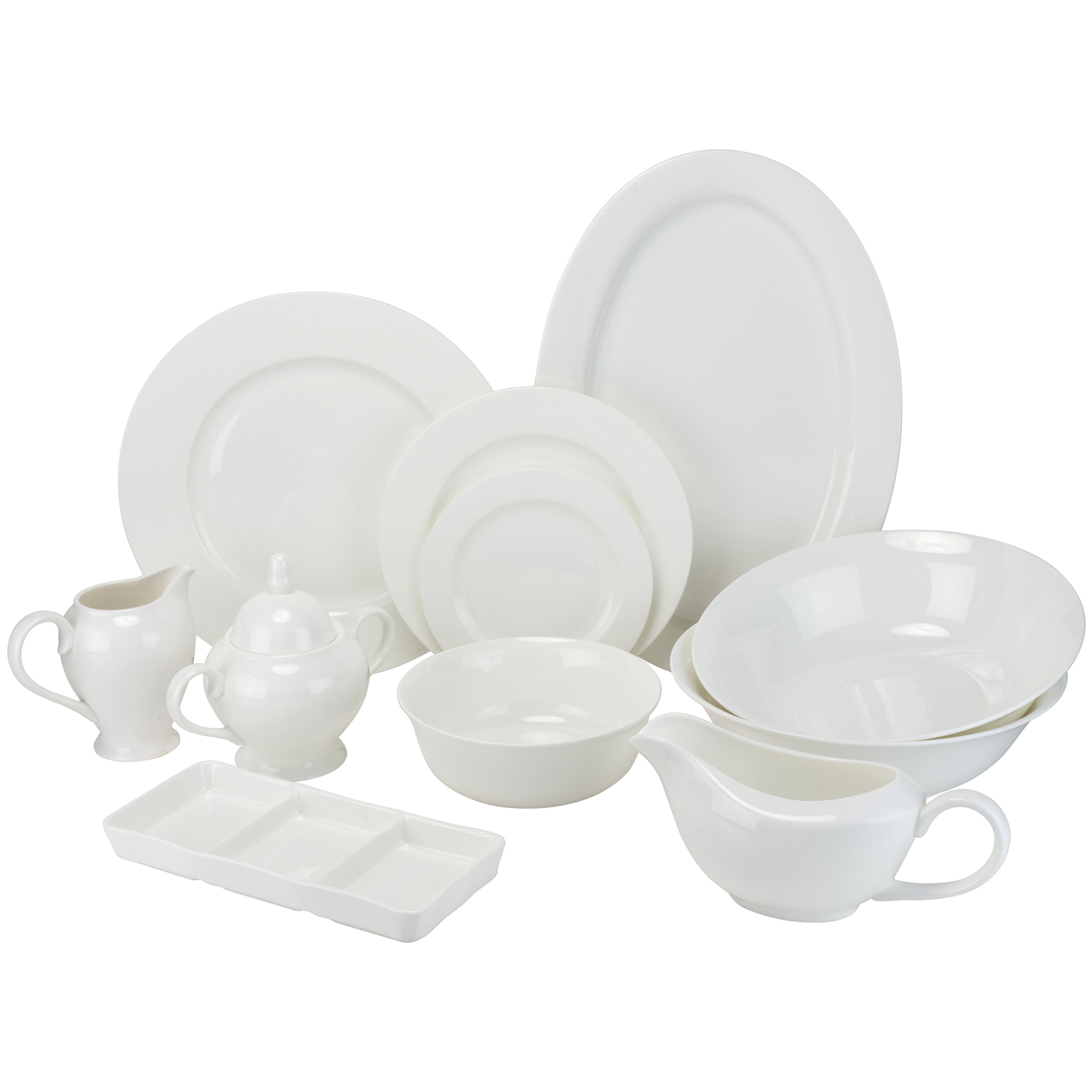 32-Pc Round Rim Bone China Dinnerware Set