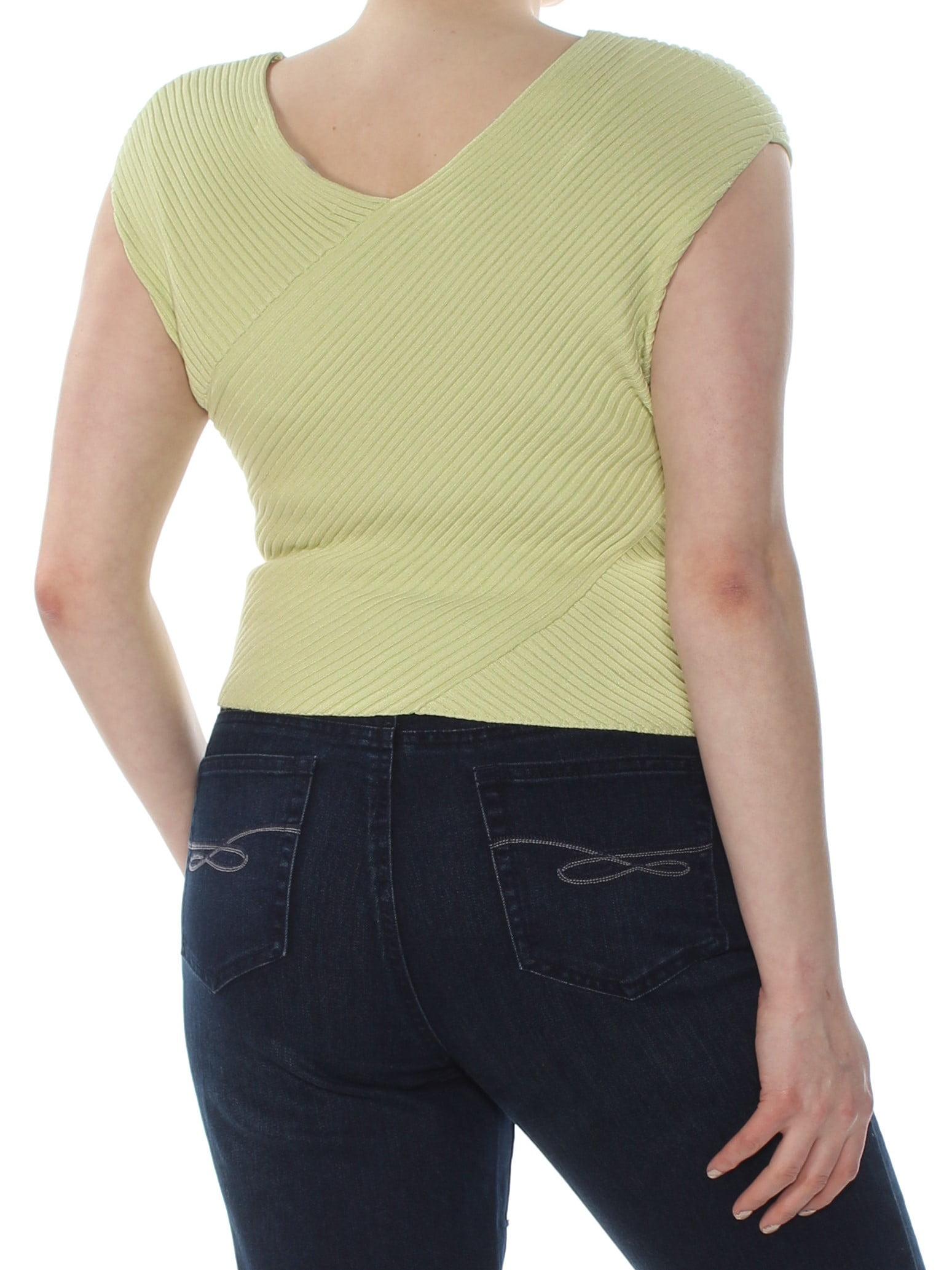 RACHEL Rachel Roy Womens Ribbed Trim Sleeveless Crop Top