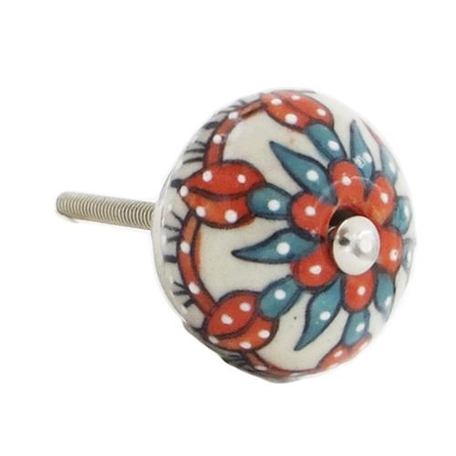Shabby Restore White, Orange, Blue Floral Decorative Knobs (Set of 6)