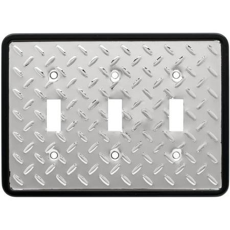 Polished Brass Triple Switch (Franklin Brass Diamond Plate Triple Switch Wall Plate in Polished Chrome)