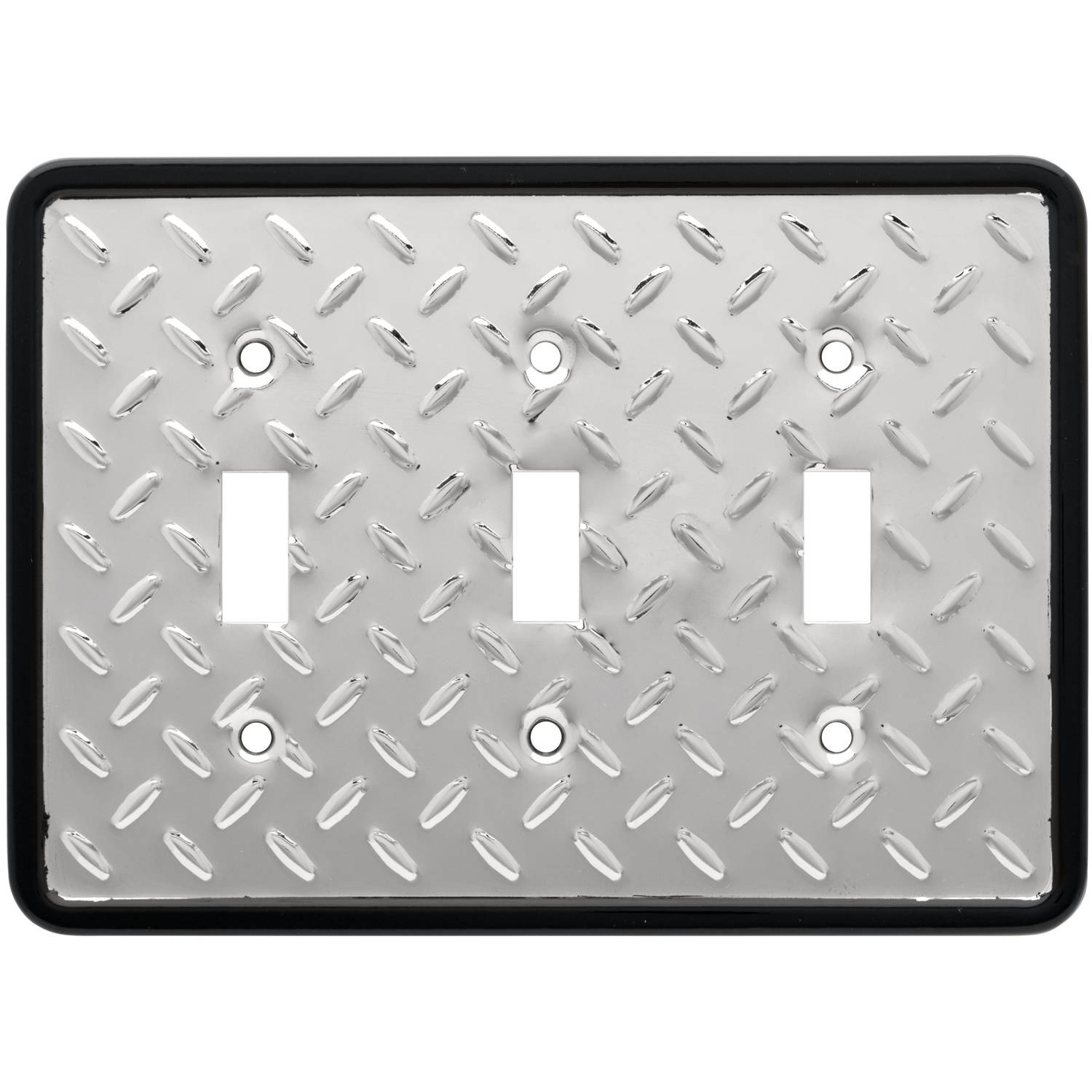 Franklin Brass Diamond Plate Triple Switch Wall Plate in Polished Chrome