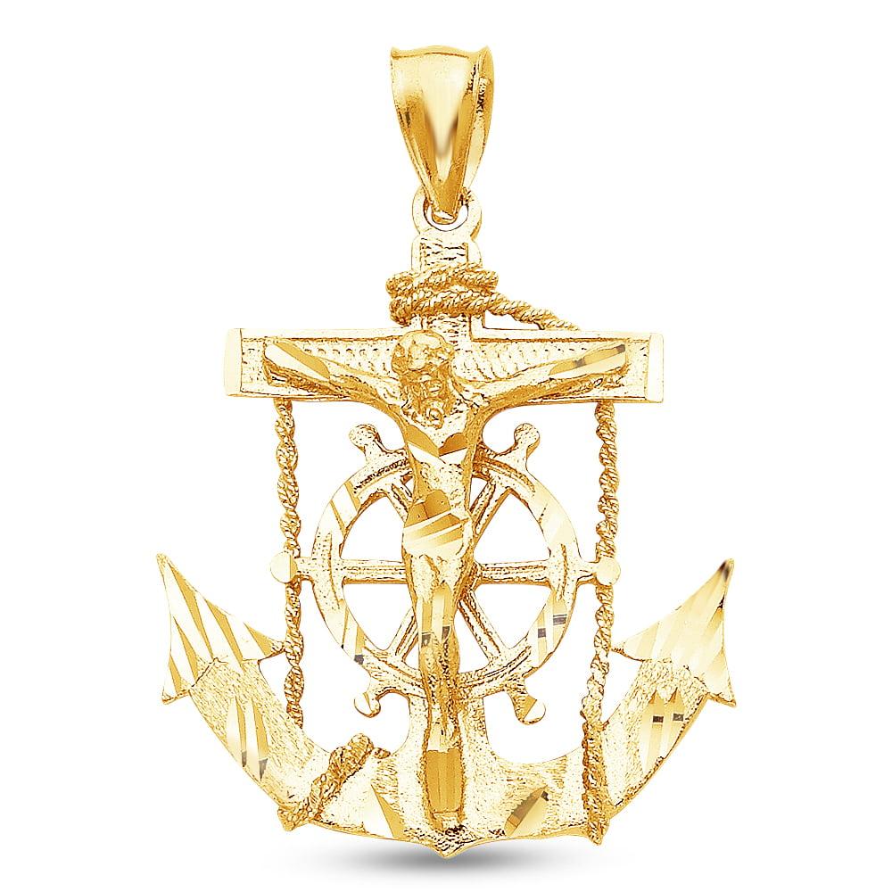 14K Yellow Gold Diamond-Cut Ornate Religious Mariner Anchor Catholic Crucifix Cross Pendant Charm (35x32 mm)