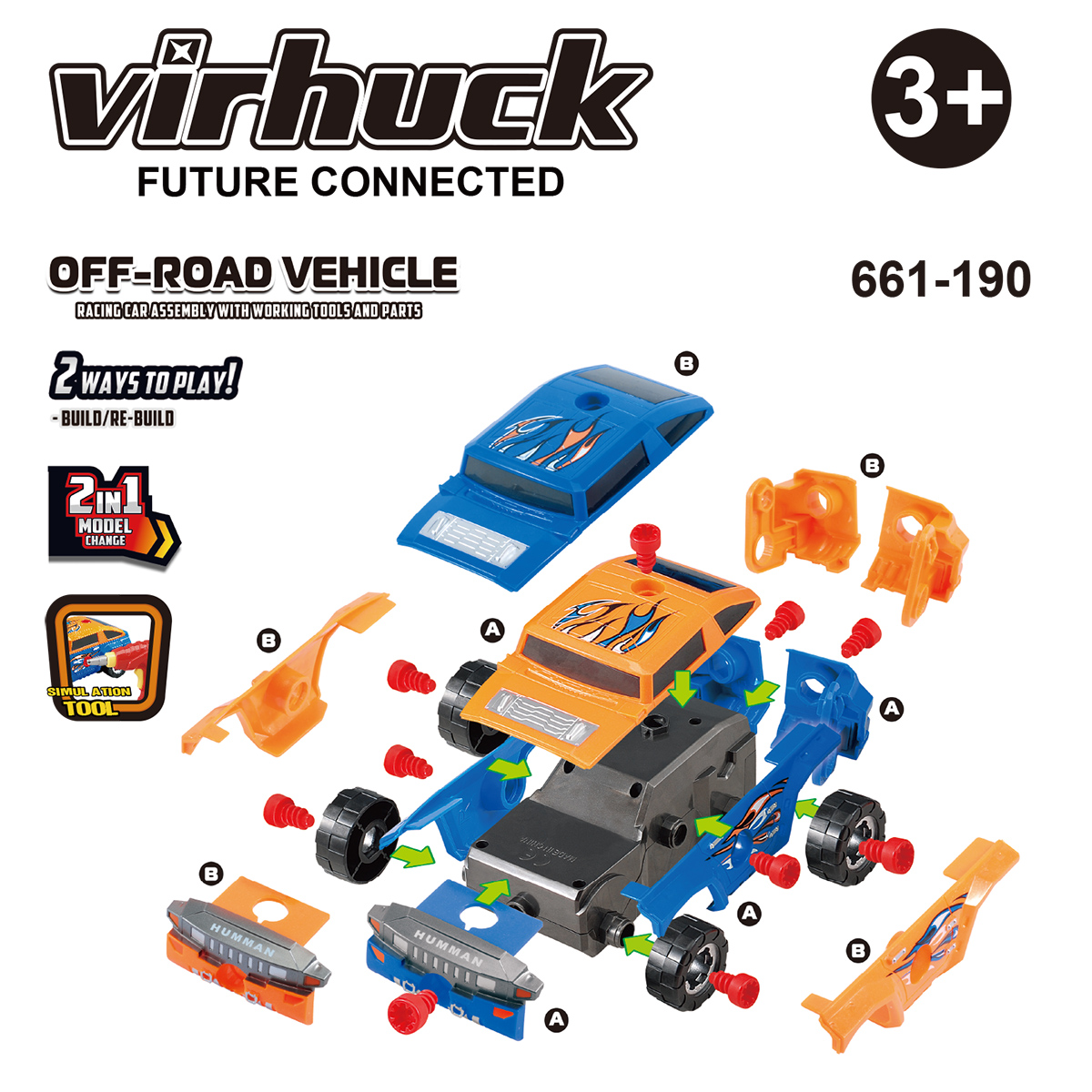 virhuck off-road vehicle Take-A-Part Toy car for Kids with 36 Take Apart Pieces,electric Tool Drill STEM Education Car for Kids Educational Toys