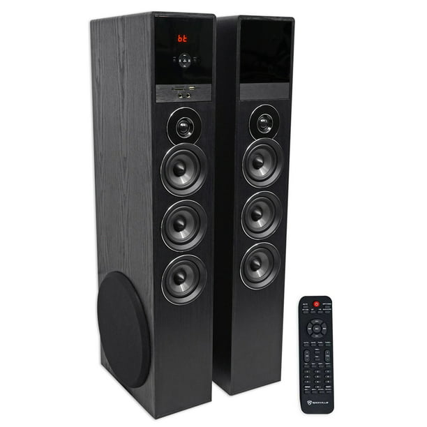 Rockville Tm150b Black Home Theatre System Tower Speakers 10 Sub Blueooth Usb Walmart Com Walmart Com
