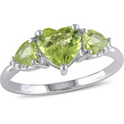 Tangelo 1-7/8 Carat T.G.W. Peridot and Diamond-Accent Sterling Silver Heart Ring