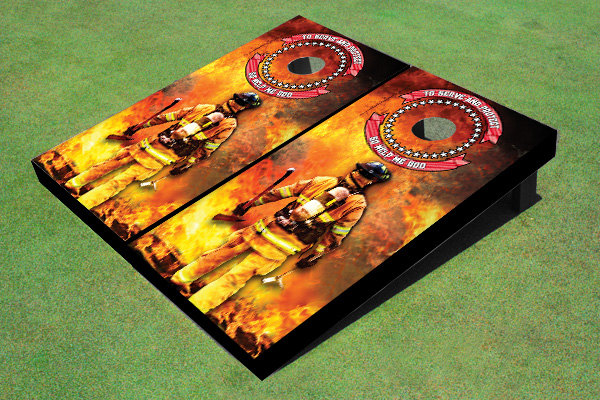 Fire Fighter Themed Cornhole Boards by All American Tailgate