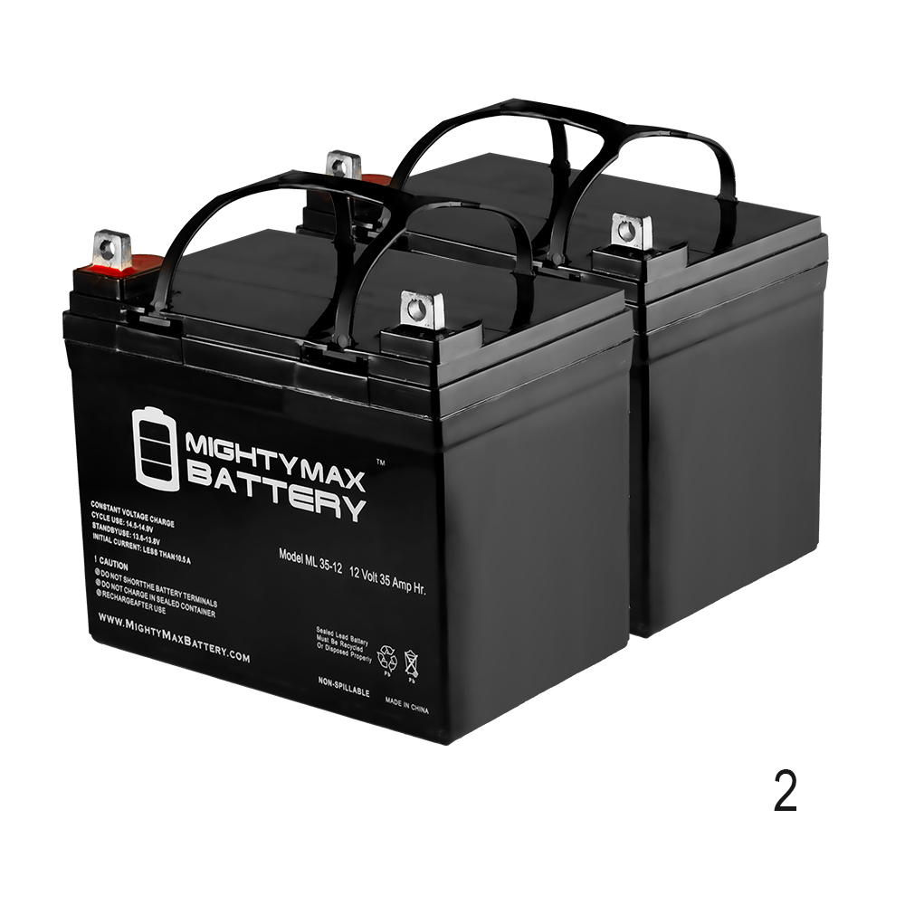 ML35-12 - 12V 35AH U1 Deep Cycle AGM Solar Battery Replaces 33Ah, 34Ah, 36Ah - 2 Pack
