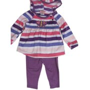 Baby Girls Purple Striped Butterfly Applique 2 Pc Leggings Set 12-24M