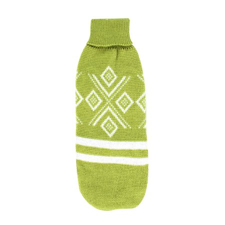 Unique Bargains Pet Puppy Rhombus Pattern Turtleneck Clothes Knitwear Sweater Green Size XXS Xxs Puppy Clothes