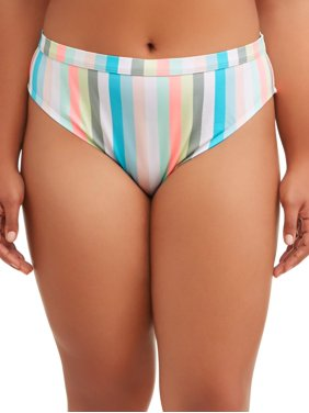 No Boundaries Juniors' Plus-Size Pastel Lines Scoop Swimsuit Bottom