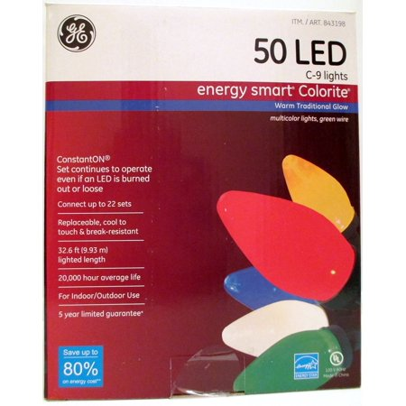 GE Energy Smart 50 Multicolor LED C-9 Holiday Christmas Lights - 32.6ft String (Ge Itwinkle 7-5 Outdoor Metal Christmas Tree)