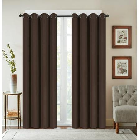 Texured Design - 2 Pack: Textured Design Blackout Curtain Panels - Brown