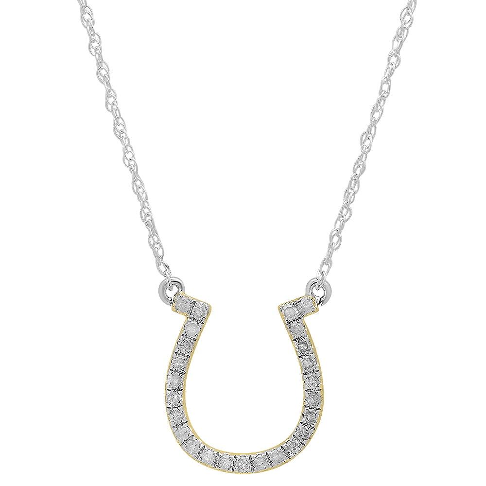 0.22 Carat (ctw) 10K Yellow Gold Round White Diamond Ladies Horseshoe Pendant 1/4 CT