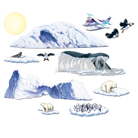 Club Pack of 144 Nautical Arctic Cruise Animal and Iceberg Wall Decorations 59