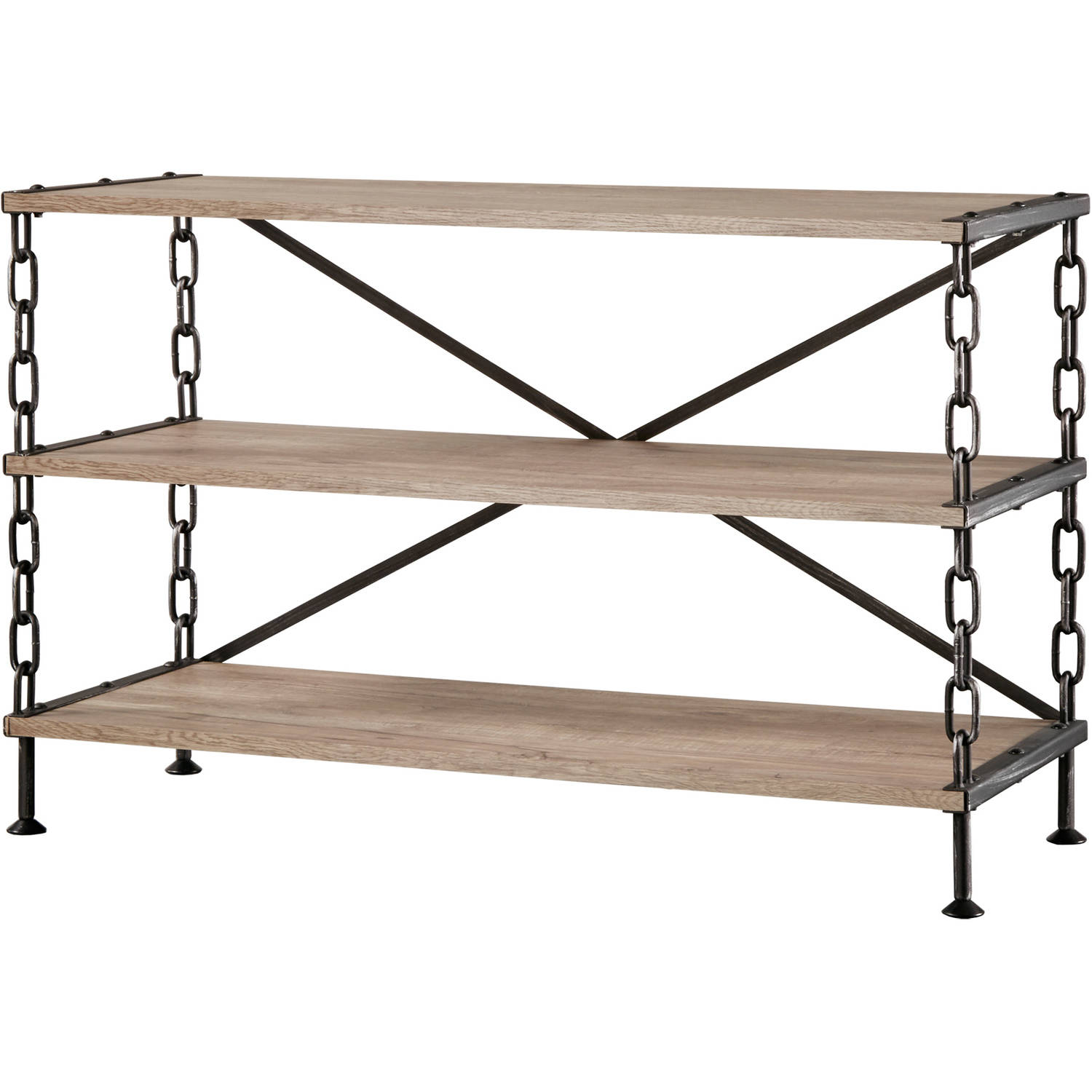 Chelsea Lane Modern Industrial Chain Link Support Sofa Table TV Stand, Brown & Black