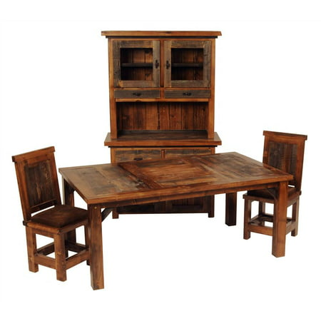 Rustic Wood Dining Table Set W Upholstered Chair 60 In L