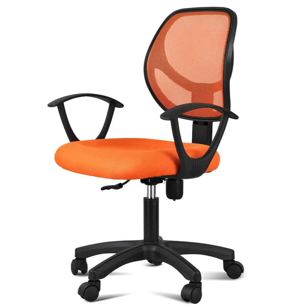 Yaheetech Adjustable Swivel Computer Desk Chair Fabric Mesh Office Chair with Arms Seating Back Rest - Orange