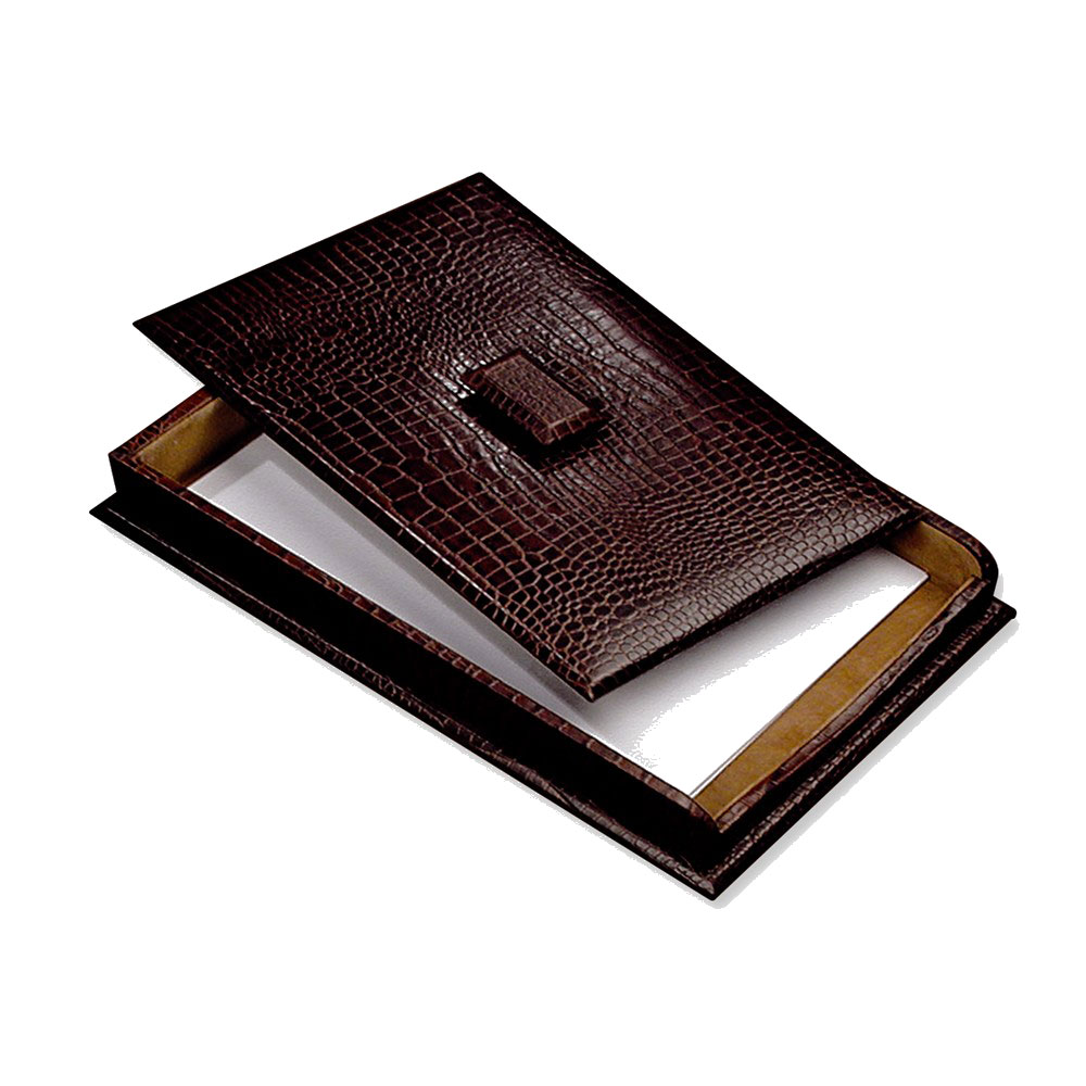 "Bey Berk Brown ""Croco"" Leather Letter Tray With Cover by Bey Berk"