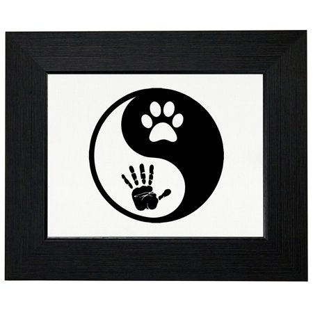 Yin & Yang - Hand Print & Paw Print - Dog Lover Framed Print Poster Wall or Desk Mount Options