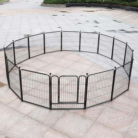 16 Panels Heavy Duty Metal Dog Exercise Pen Cat Pet Puppy Exercise Fence Barrier Playpen Kennel, Outdoor & Indoor 31.5 x 23.6
