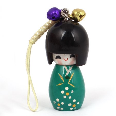 Japanese Cell Phone Straps (Lawn Green Wooden Japanese Kokeshi Doll Bells Ornament Cell Phone)