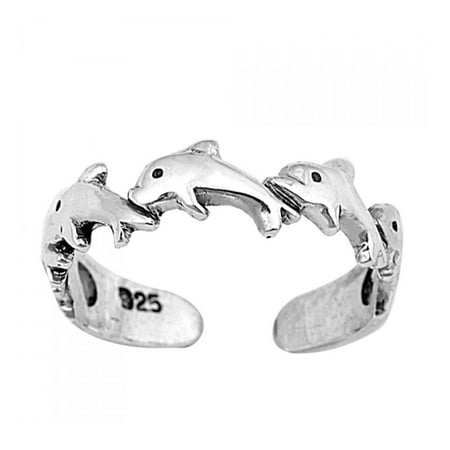 925 Sterling Silver Dolphins Toe Ring (Juniors Dolphin Design)