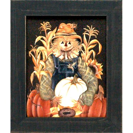 Artistic Reflections 'Harvest Gathering Scarecrow Texture Coated Halloween' by Michelle Musser Framed Graphic Art - Halloween Gathering Chicago