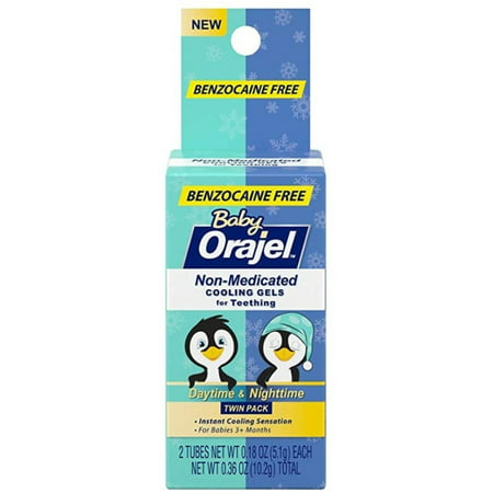 2 Pack - Baby Orajel, Non-Medicated Cooling Gels For Teething Daytime & Nighttime 0.18 oz Baby Togs 2 Piece