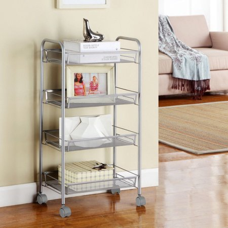 Ktaxon Shelving Rack 4 Tier Shelves Rolling Kitchen Pantry Storage Utility Cart On Wheels