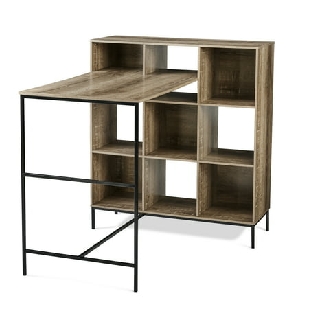 Mainstays 9-Cube Standing Storage Desk, Rustic (Best Shoes For Standing Desk)